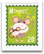 Monkey Animal Stamp 8x10