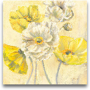 Gold And White Conte...<span>Gold And White Contemporary Poppies I - 18x18</span>