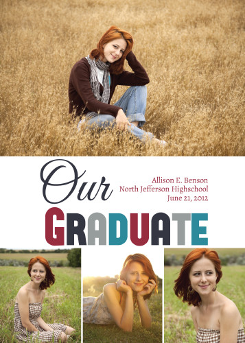 Graduation Announcement Photo Card - Collage 4 Photo - Red/Teal