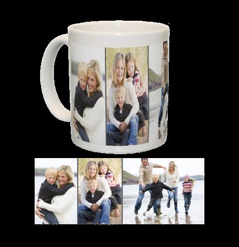 Ceramic Mug/White with Three Photo Collage (Grey)