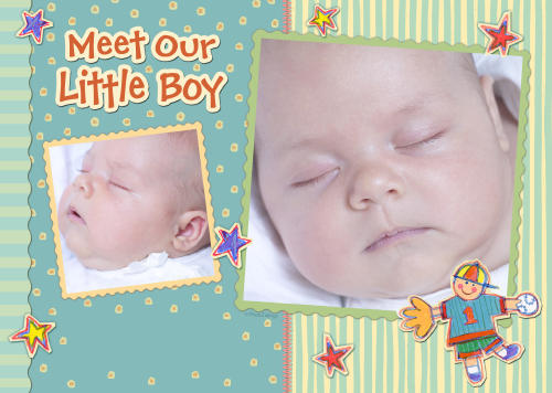 5x7 Card: Meet Our Little Boy