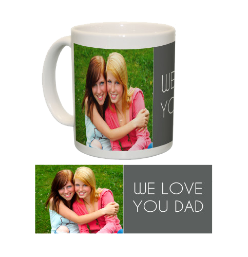 Ceramic Mug/White One Photo Collage (Grey)