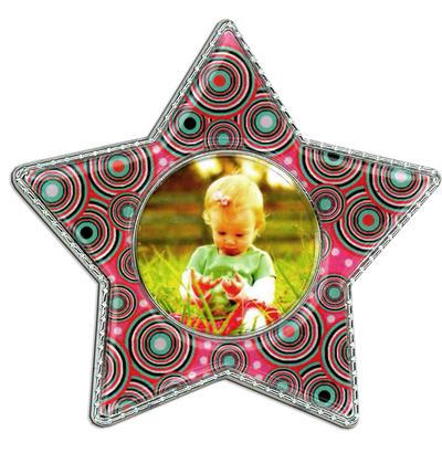 Pink Circle Star Epoxy Magnet