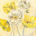 Gold and White Contemporary Poppies I - 18x18